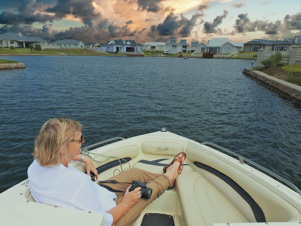afslappende, båd, ferie