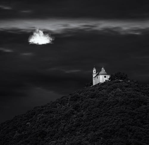 Free stock photo of black&white, church, cloud, contrast