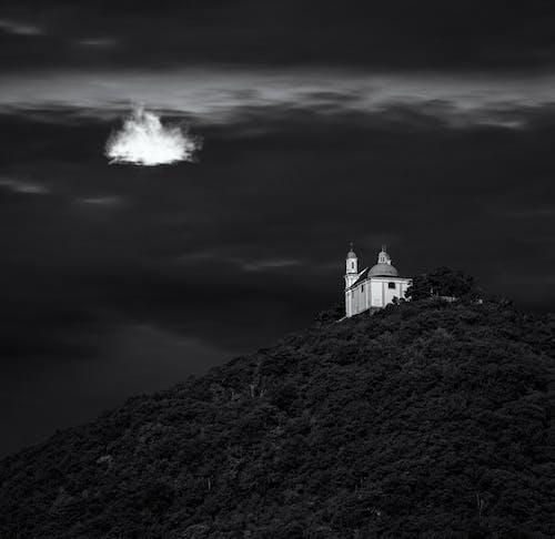 Free stock photo of black amp white, church, cloud