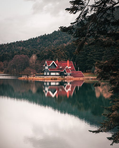 Red and Black House Near Lake Surrounded by Trees