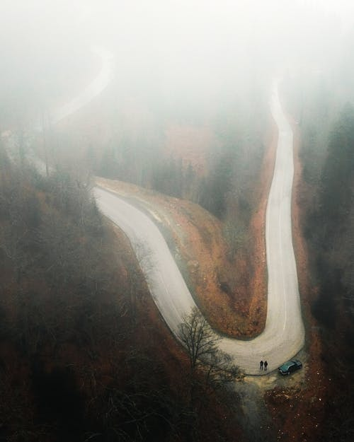 Foggy Road in a Curve