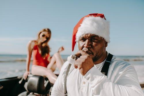 Homme, Dans, Santa, Tenue, A, Tabac