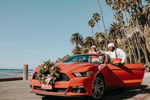Základová fotografie zdarma na téma auto, černý santa, červené auto