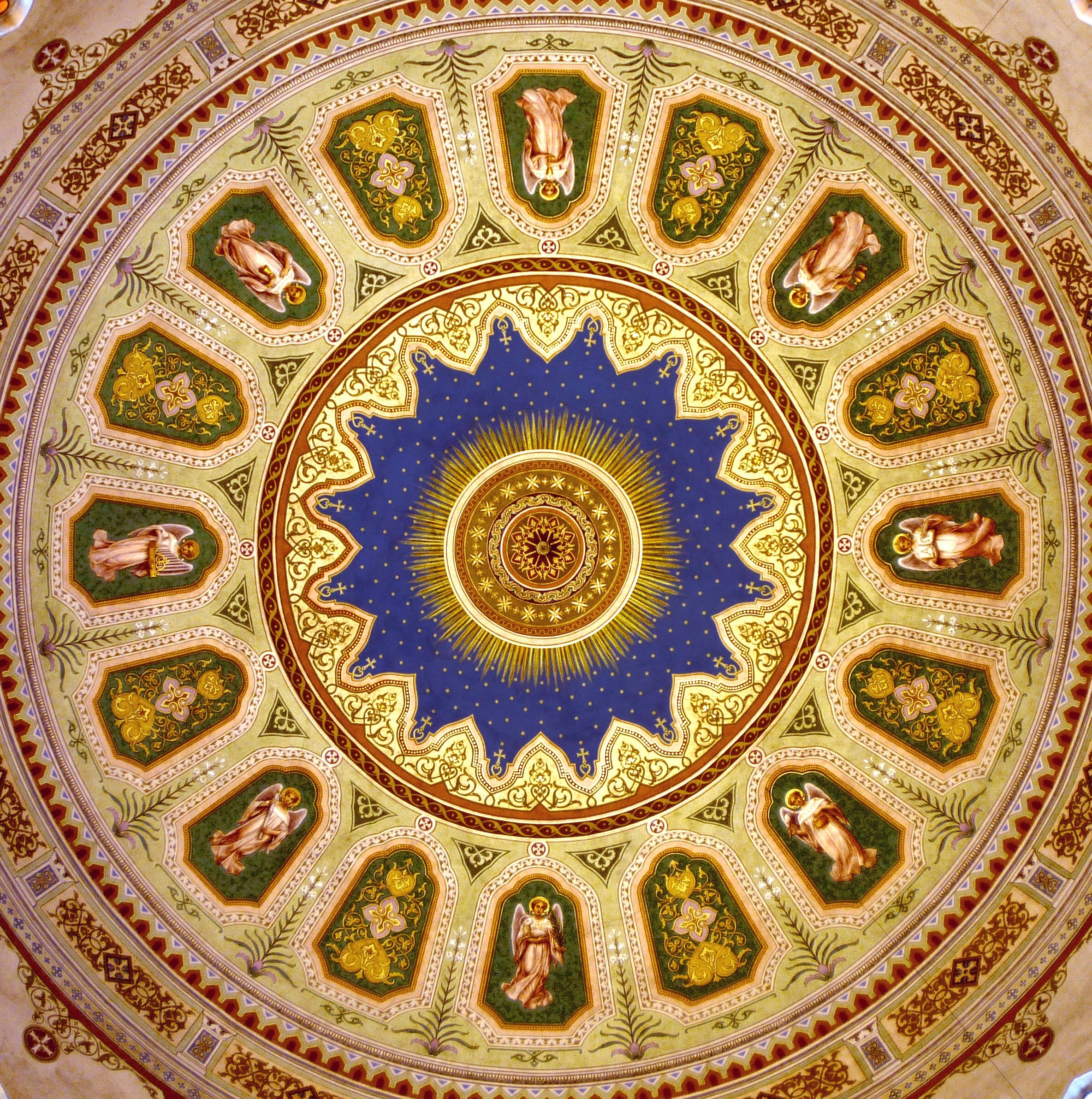 Red and White Angels Printed on Green Red and Purple Round Rug