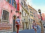 people, street, buildings