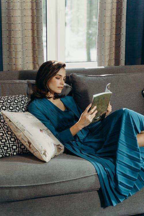 Free stock photo of adult, beautiful, blue dress