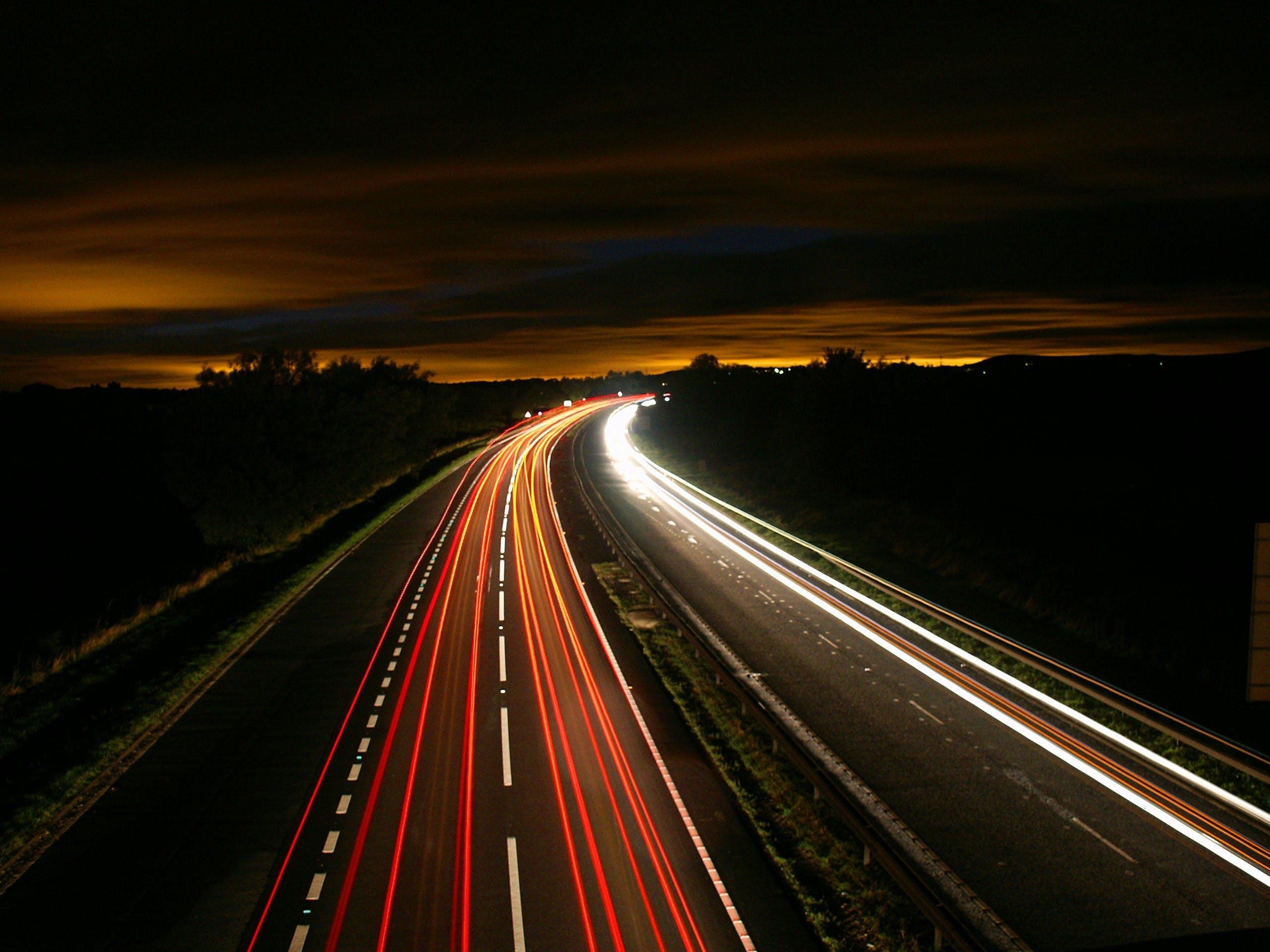 Kostenloses Stock Foto zu straße, beleuchtung, nacht, autobahn