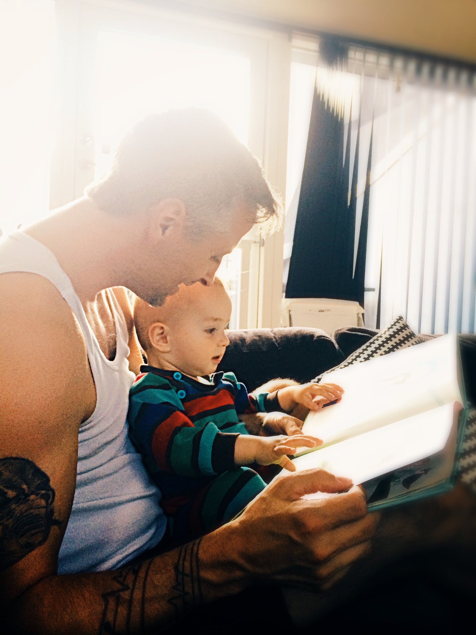 Father and Son Reading Books