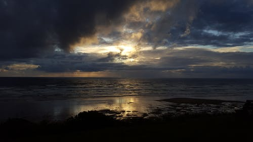 Free stock photo of beach sunset, clouds, ocean