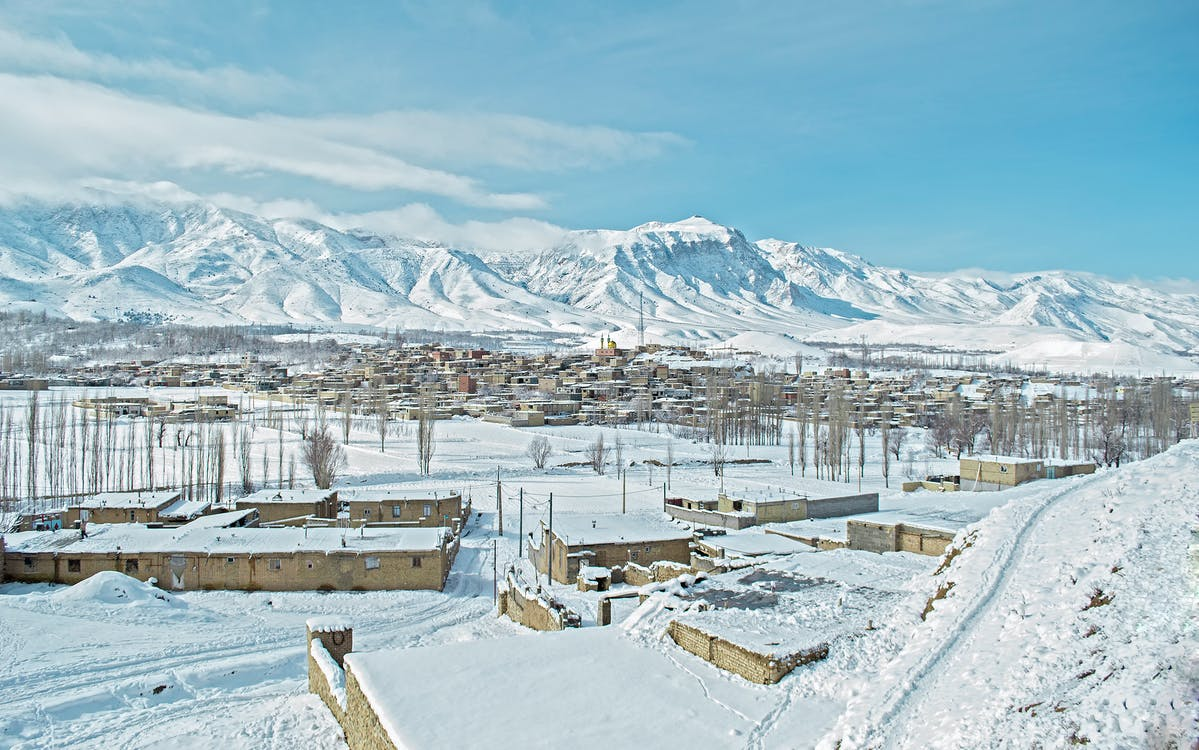 A Snow Covered Town beside the Mountains