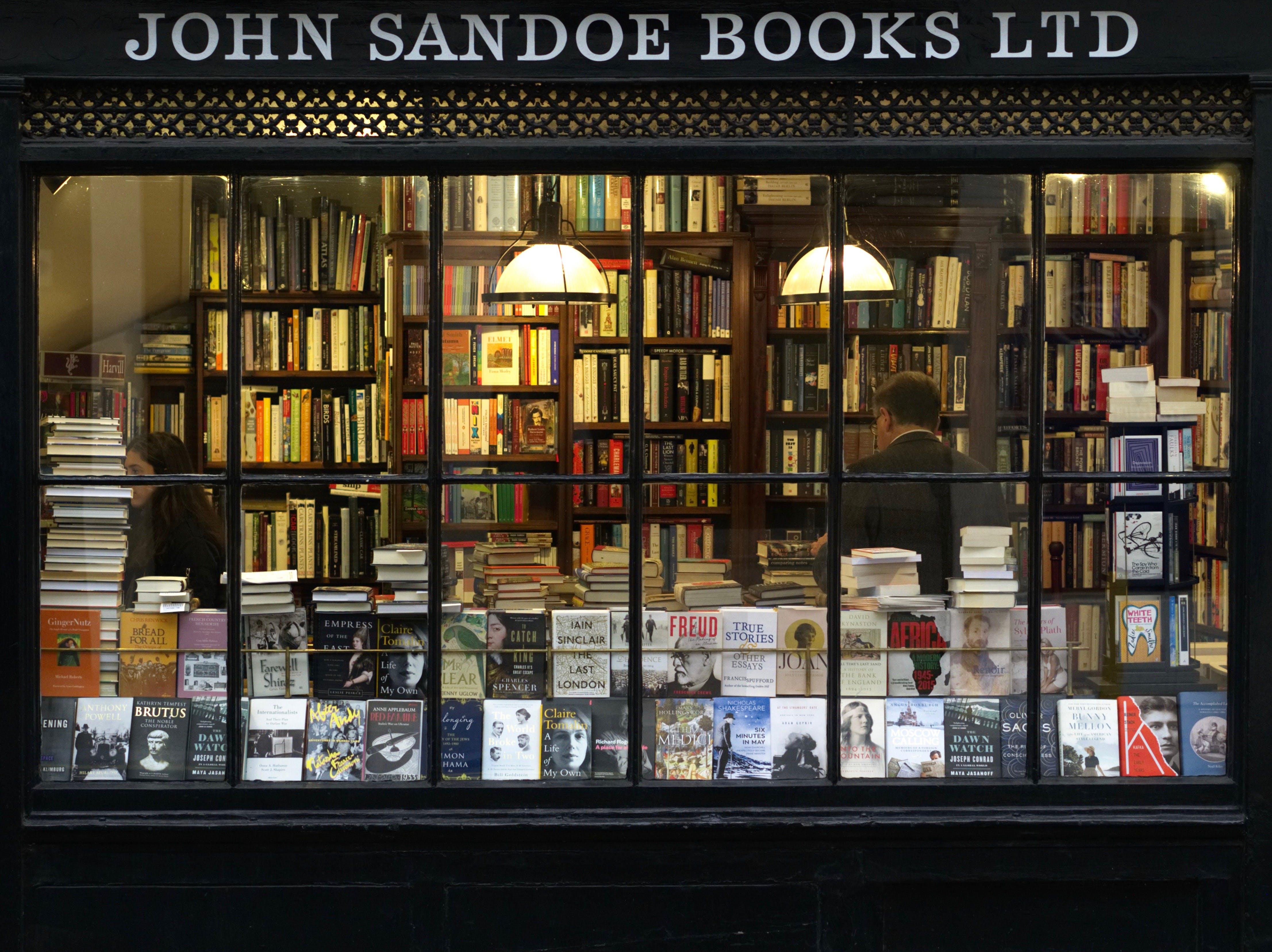 Free stock photo of city, books, bookshop, window