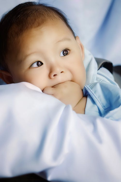 Adorable little Asian baby boy wearing casual clothes lying on belly on white blanket with fist in mouth and looking away