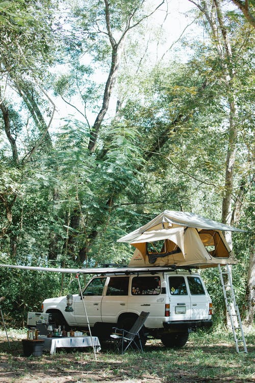 Tent placed on off road car roof parked amidst lush green trees in forest during camping on sunny day