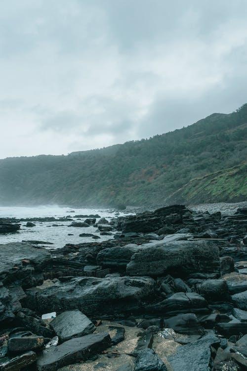 Stony seashore surrounded by green cliffs under overcast sky