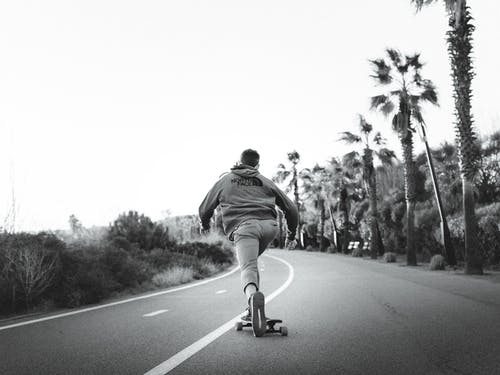Black and white of anonymous male skater riding skateboard on empty roadway between palms and plants