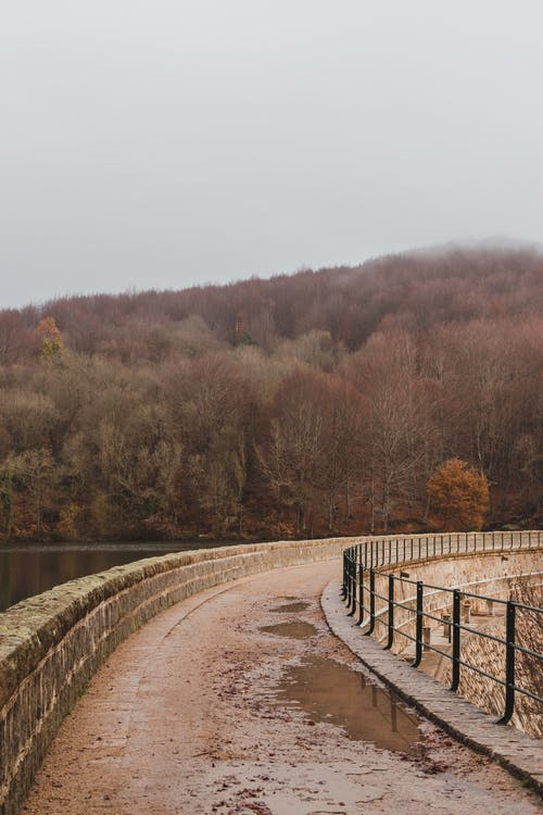 Empty narrow walkway on bridge over river against autumn forest on slope of mountain