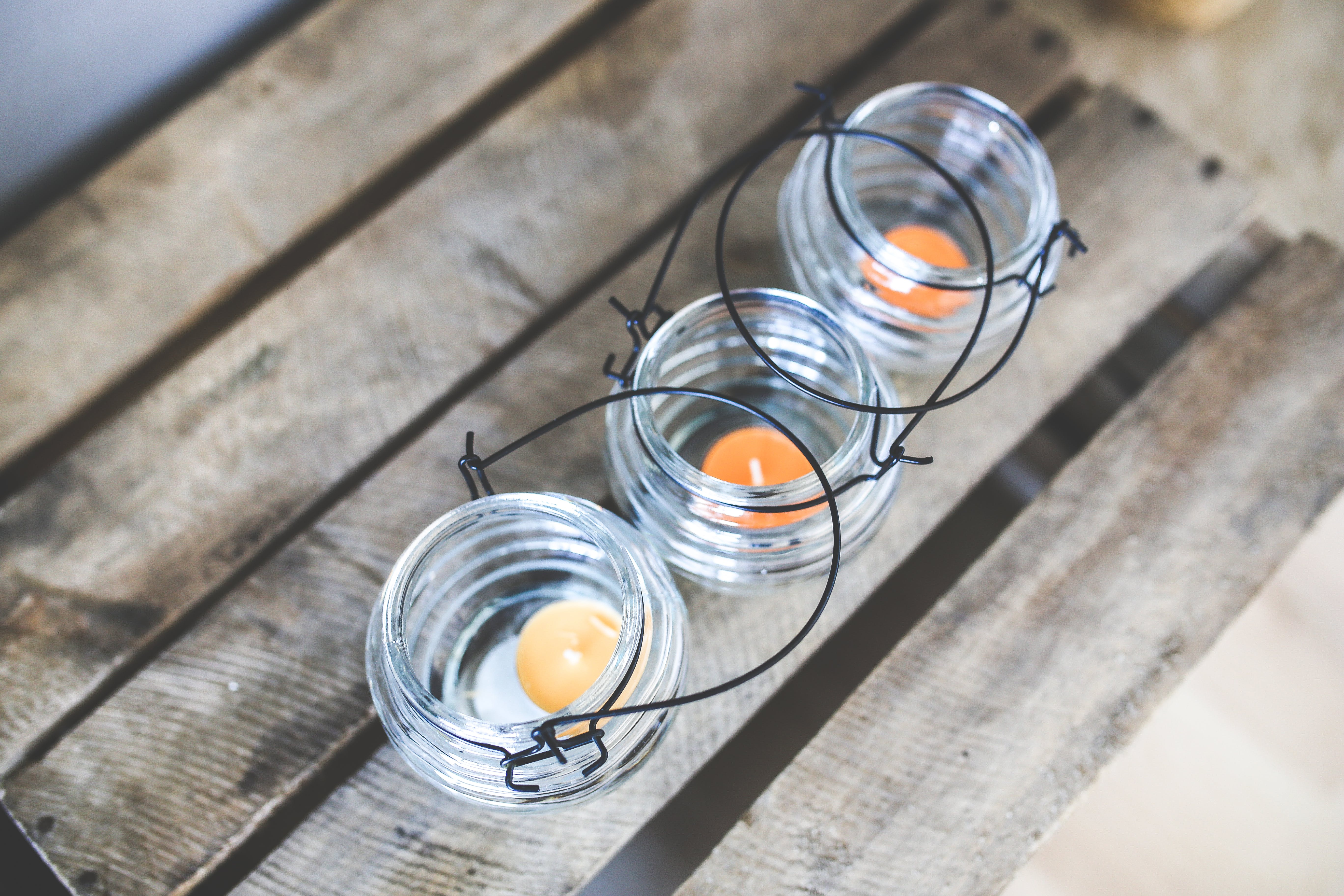 Three candleholders with tealights