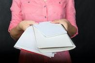 hands, woman, notebook