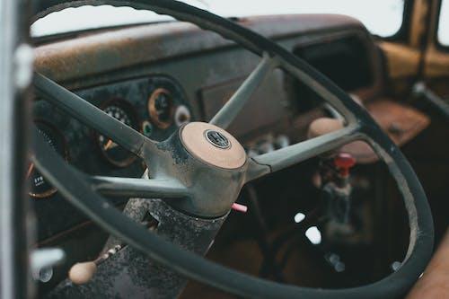 Steering wheel of old automobile