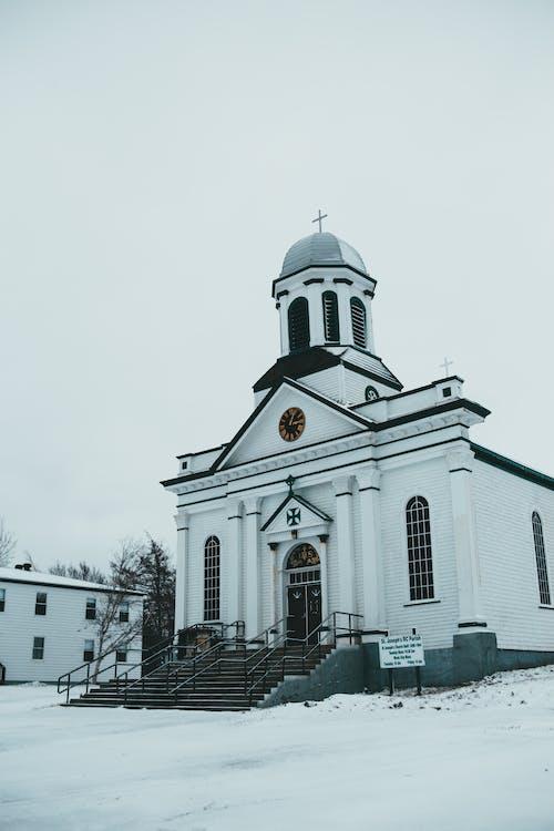 St Josephs Roman church on snowy ground
