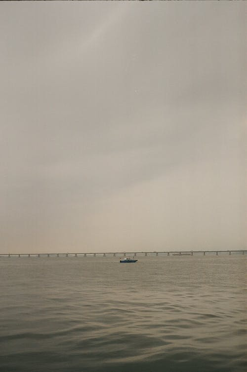 Quiet and cloudy day on river