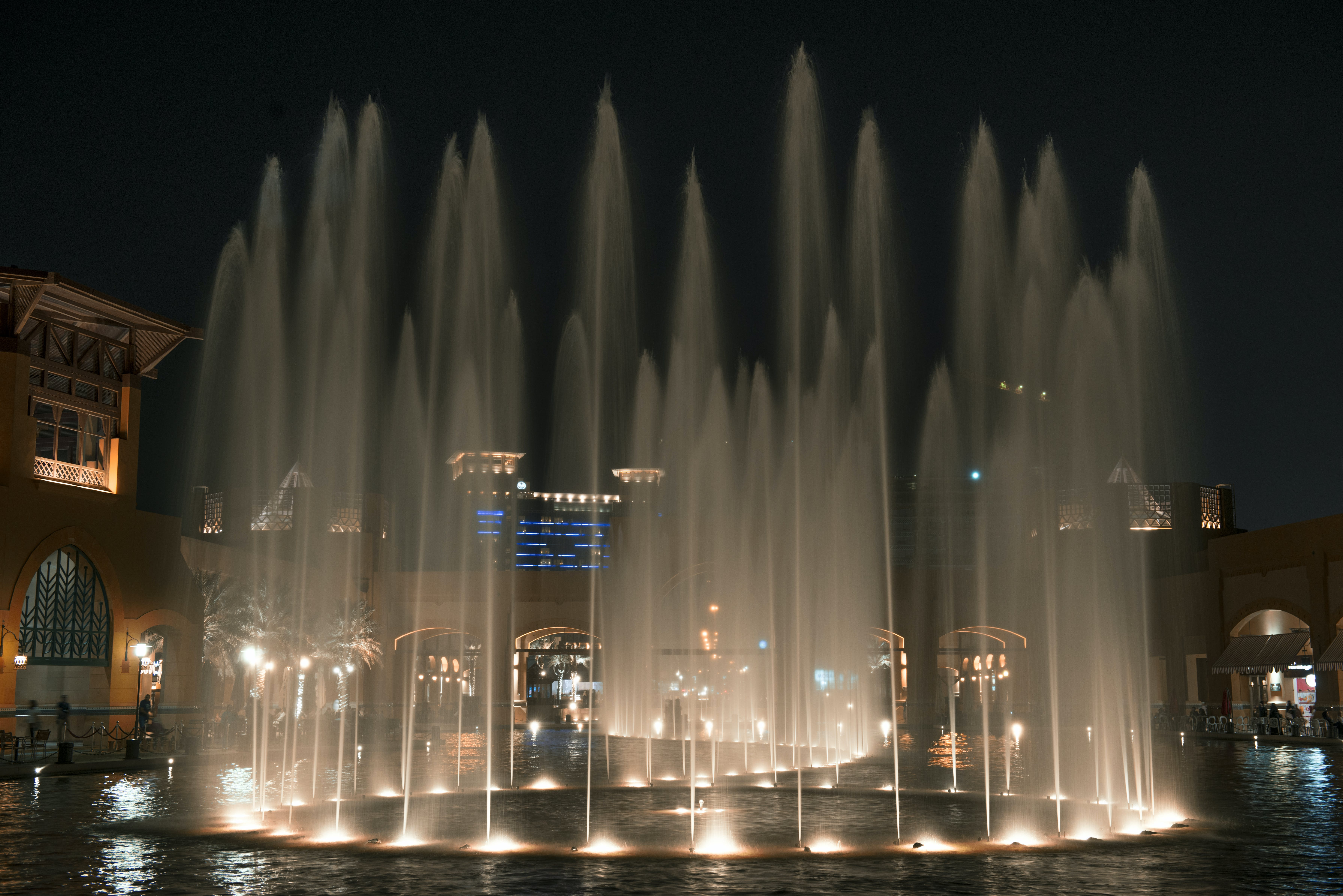 Free stock photo of fountain, light, water