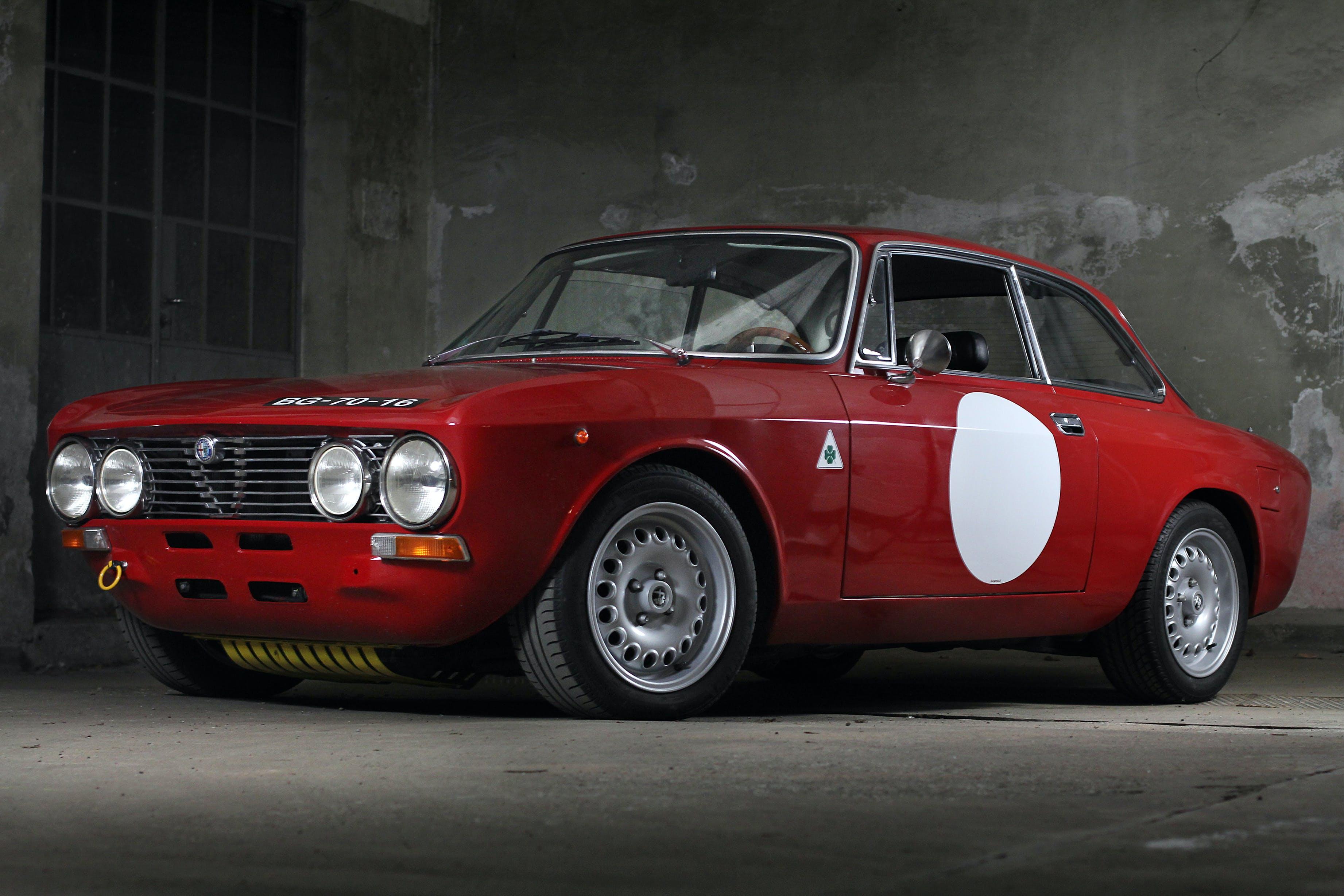 Vintage Red Car Inside Garage