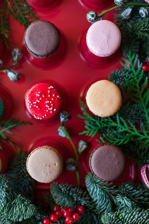 Yummy macaroons on red cake glaze decorated with fir twigs
