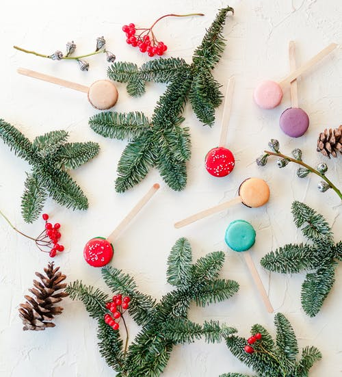 Composition of sweet macaroons and fir twigs