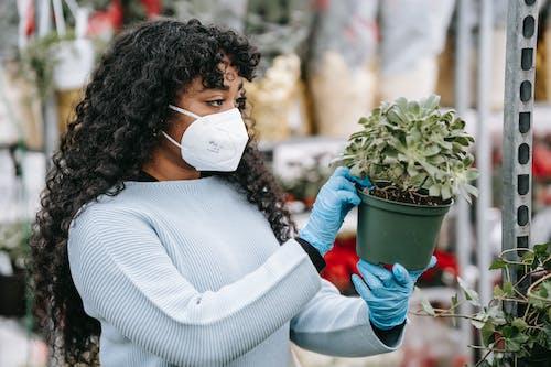 Mujer En Suéter Blanco Con Planta Verde