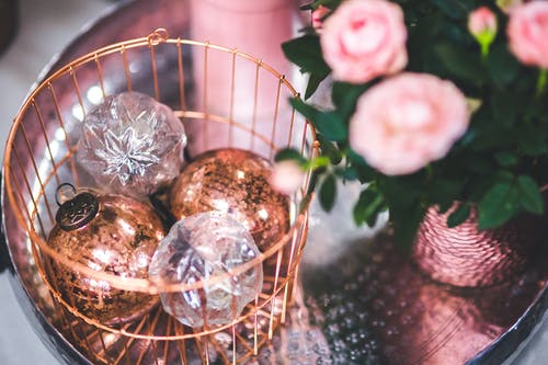 Christmas Glass Balls in the Basket