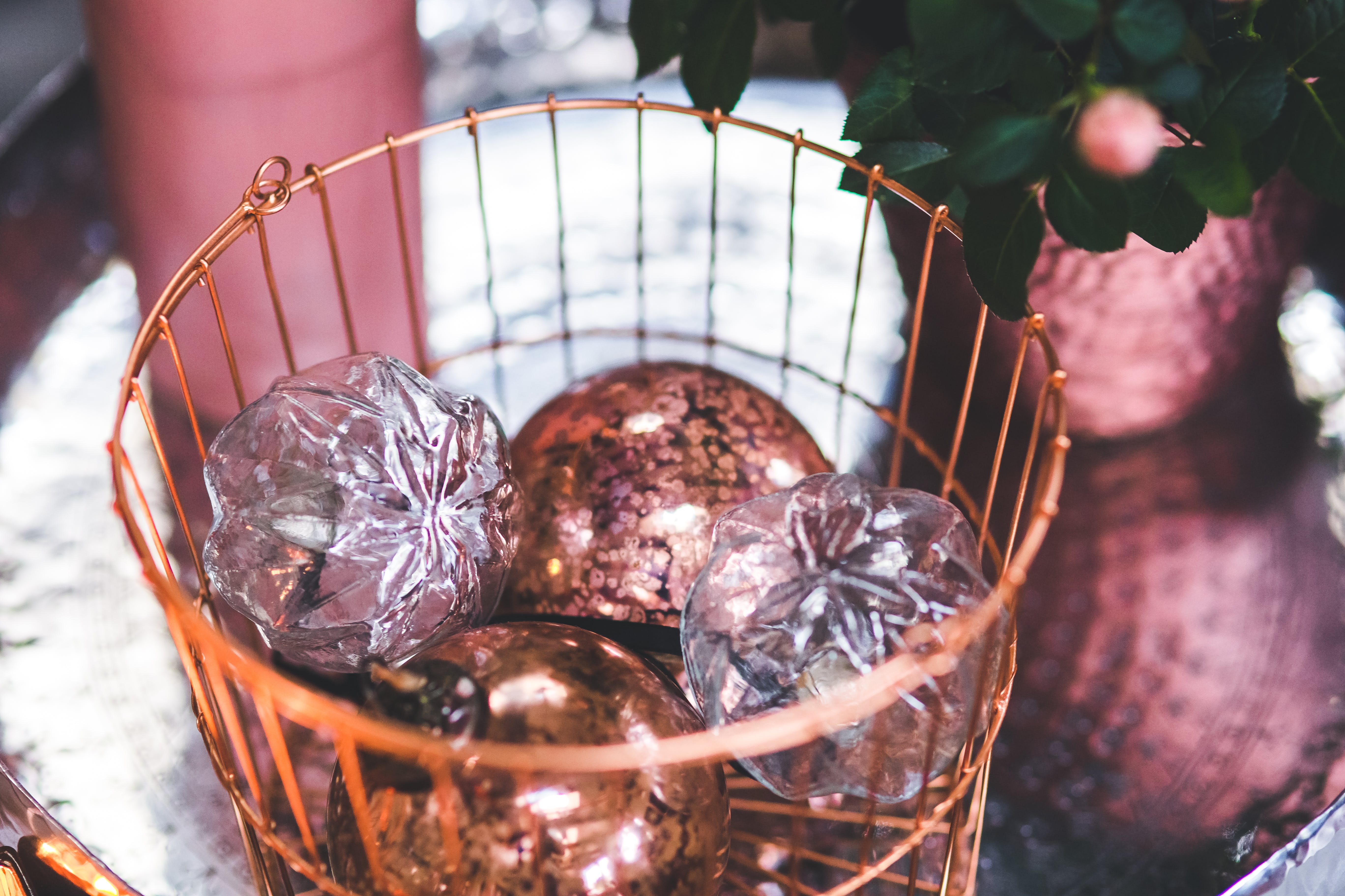 Christmas Glass Balls in the Copper Basket