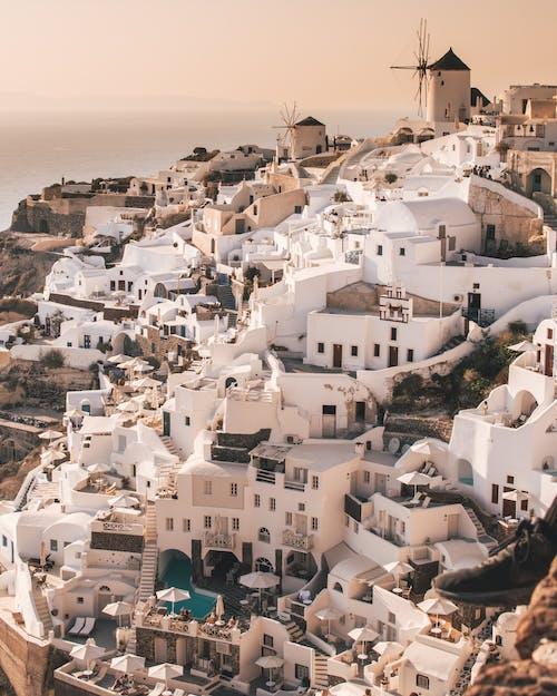 White Concrete Houses Near Sea