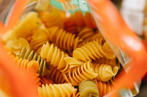 Opened pack of Italian fusilli pasta