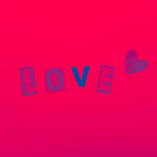Love Text On Red Background