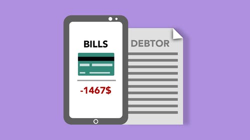 Vector illustration of smartphone with credit card picture and bills inscription placed near debtor document against purple background