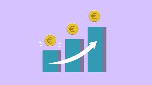 Vector illustration of income growth chart with arrow and euro coins against purple background
