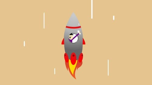 Vector illustration of cheerful man in flying rocket