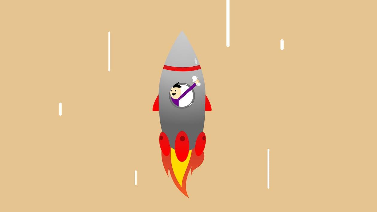 Vector illustration of cheerful man in flying rocket