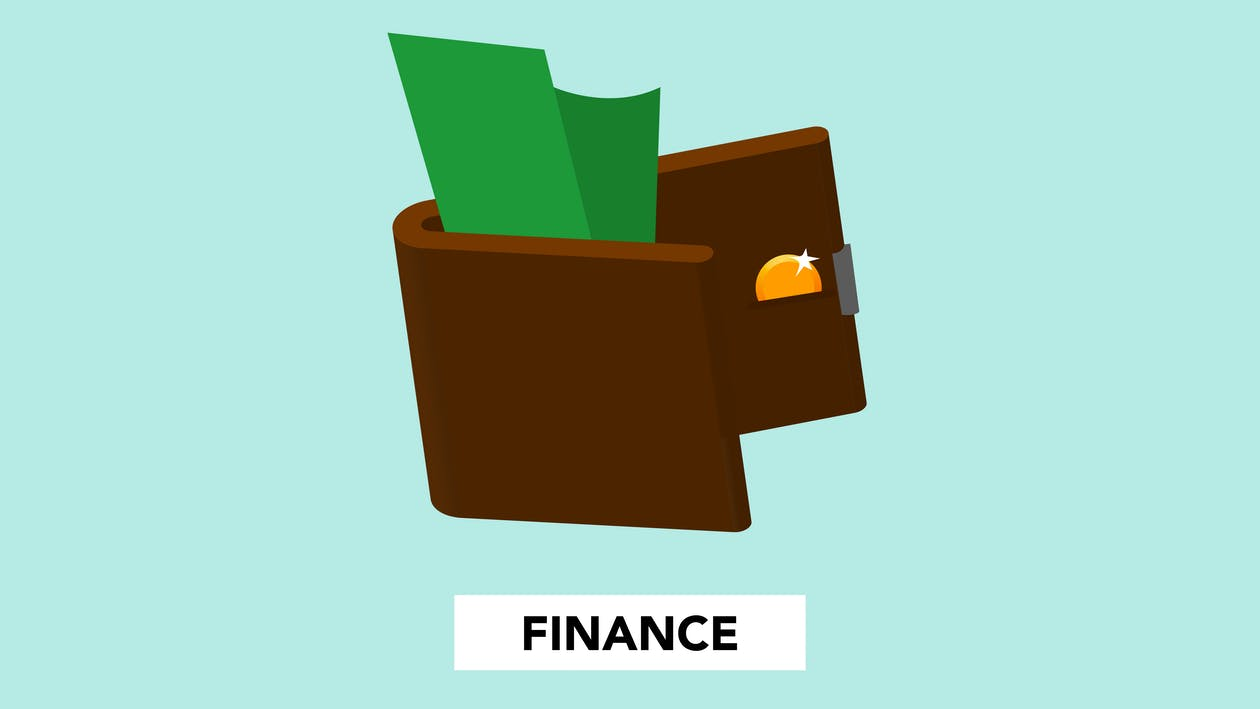 Simple illustration with dollar banknote and coin in wallet above finance inscription on green background