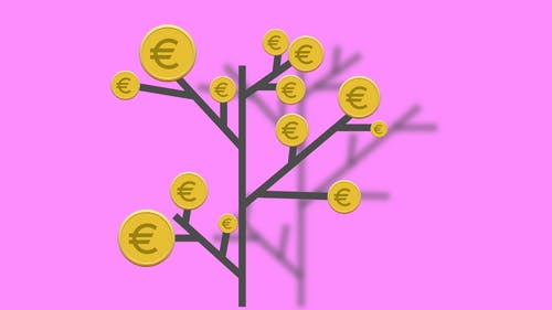 Illustration with euro coins on tree twigs