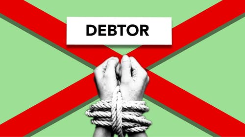 Illustration of debtor with hands tied with rope against cross symbolizing dependence on credit against green background