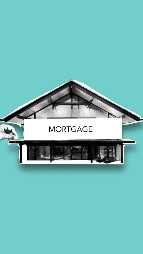 Mortgage concept with building on illustration