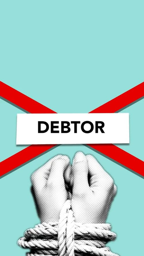 Illustration of debtor with rope on hands and cross symbolizing concept of financial dependence on loan payments