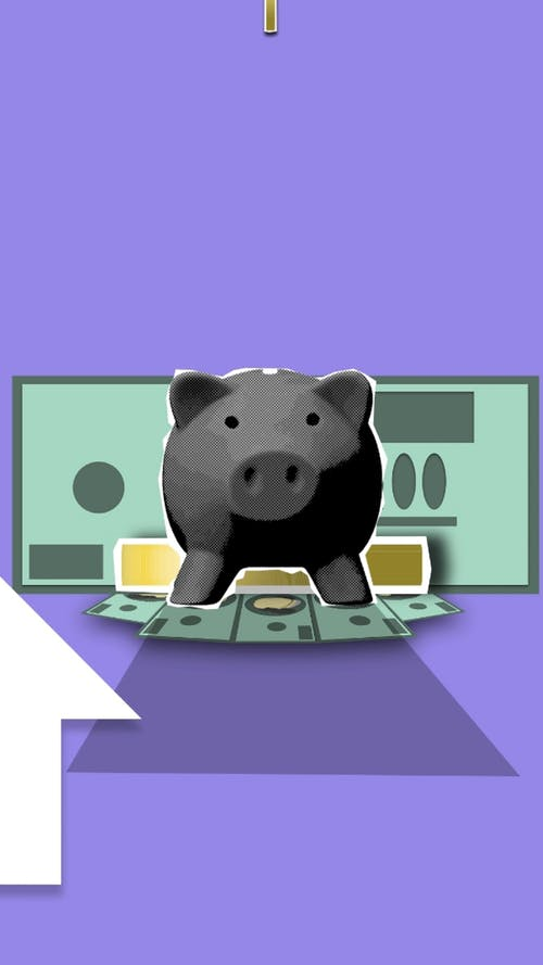 Illustration of money with piggy bank and arrow up