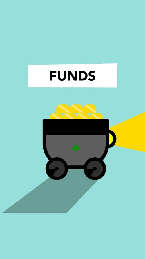 Illustration of carriage with gold for funds concept