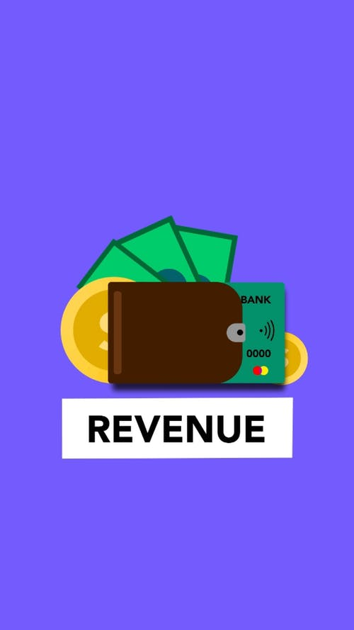 Illustration of revenue in coins banknotes and credit card