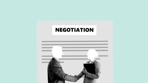 Illustration of business colleague shaking hands for agreement against concluded contract during negotiation