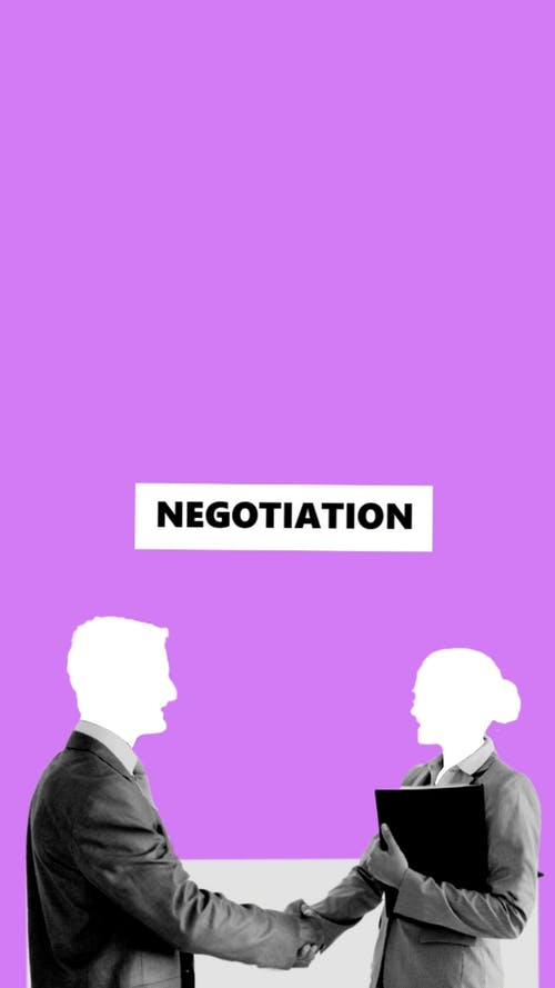 Illustration of business colleagues at negation