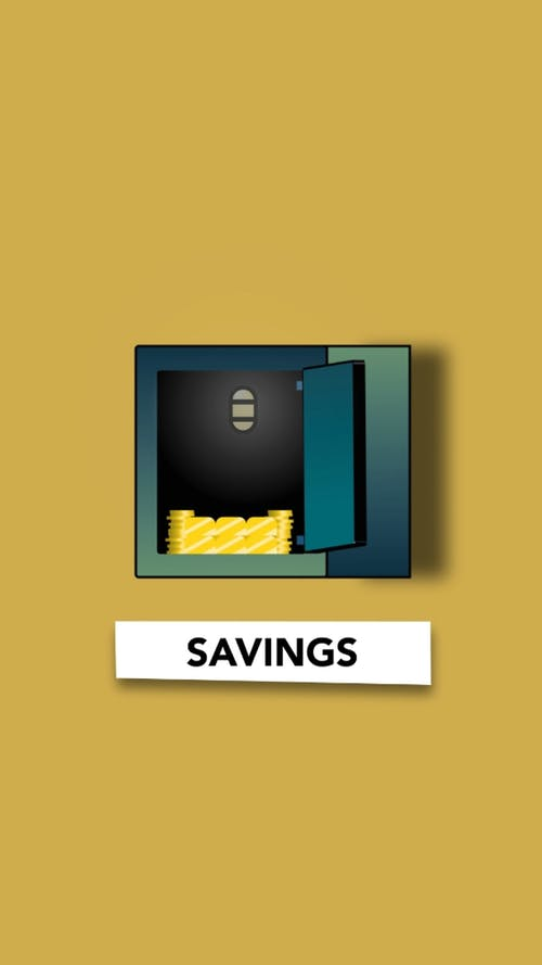Opened iron safe with stack of golden coins for savings on yellow background